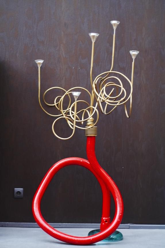 Chandelier verre et acier laqu thierry rastier for Esstisch 1 40 m