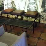 Petite table et banc acier, bois et cuir