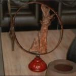 Sculpture acier et bois flotté, 60cm