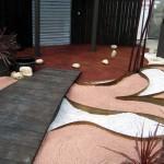 Jardin minéral acier, graviers, bambou laqué, béton lazuré - showroom publique