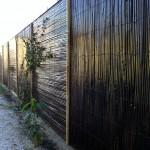 Habillage mur extérieur, bambous tressés teinté marron