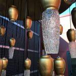 Lustre ext. verre doré led variateur. L=1,2m, H=2,5m